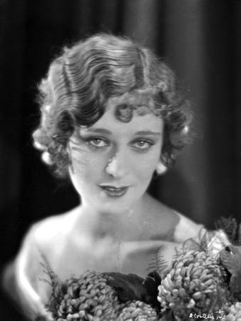 Dolores Costello Portrait in Black and White with Flowers