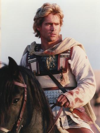 Colin Farrell Riding Horse in Warrior Outfit Portrait