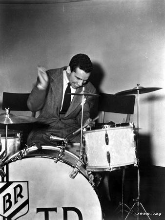 Buddy Rich in White Sweater With Sharp Knife