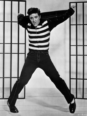Elvis Presley Jumping in Stripes Shirt