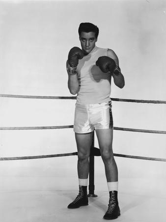 Elvis Presley Posed in Boxing Attire