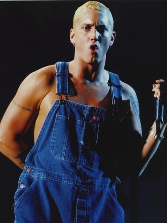 Eminem Wearring Blue Denim Outfit Portrait