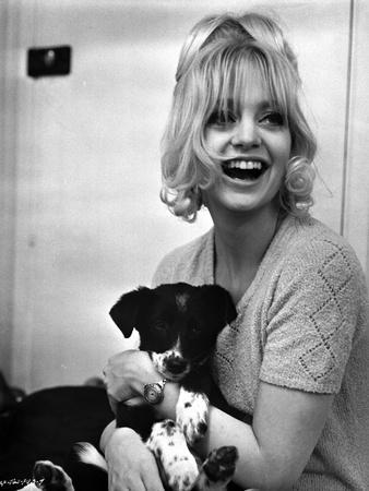 Goldie Hawn Caring Puppy hugging Portrait