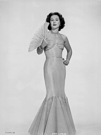 Hedy Lamarr In a Dress with Fan