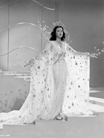 Hedy Lamarr In a Beaded White Gown