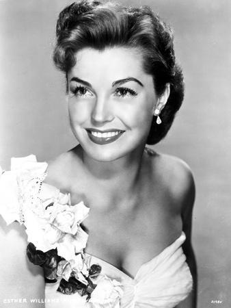 Esther Williams on White Tube Gown with Flowers Look Away Pose