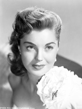 Esther Williams Seated in Swimsuit and Classic