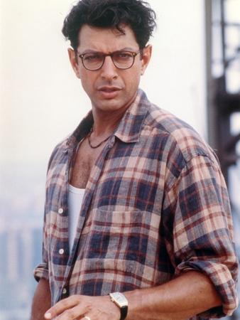 Jeff Goldblum Posed in Brown Checkered Polo and Wrist Watch on the Left Hand