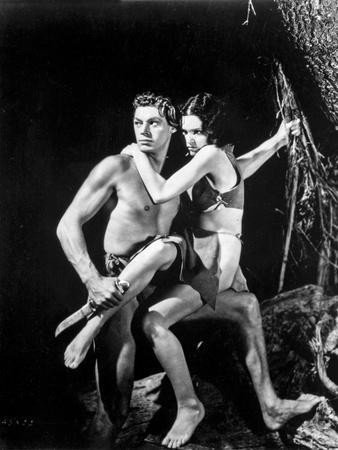 Johnny Weissmuller Carrying a Girl in a Movie Scene