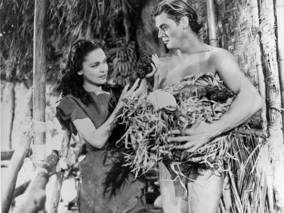 Johnny Weissmuller Holding a Birds Nests in a Classic Movie Scene