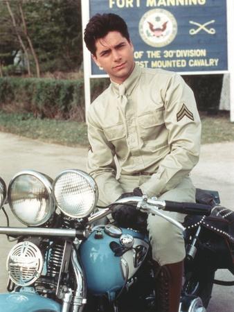 John Stamos Posed in Motorcycle Portrait