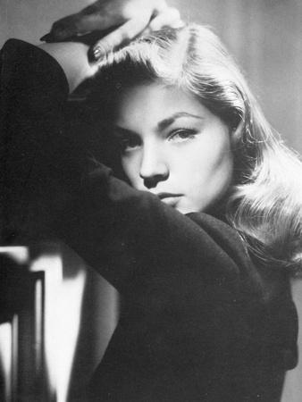 Lauren Bacall Leaning in Black and White