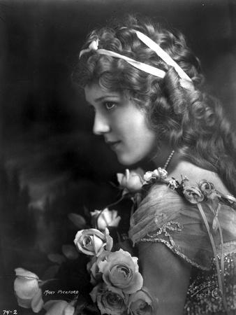 Mary Pickford on a Lace Dress with Flowers