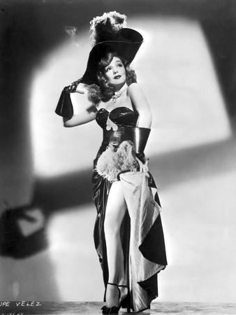 Lupe Velez Posed in Sexy Black Dress with Heels
