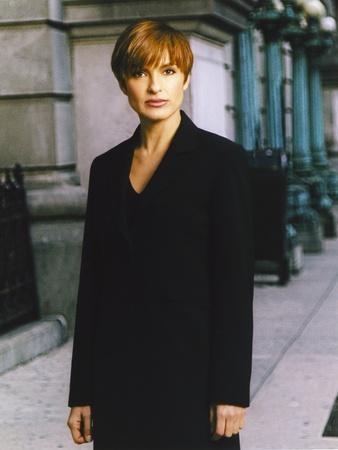 Mariska Hargitay standing in Black Coat Portrait