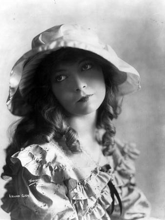 Lillian Gish on Ruffled Dress With Hat Portrait
