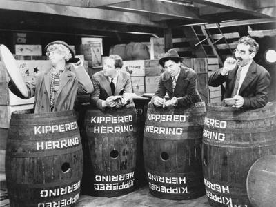 Marx Brothers Scene With Four Men Hiding in a Barrel- Photograph Print