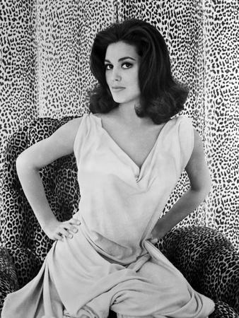 Linda Harrison on a Dress with Leopard Background