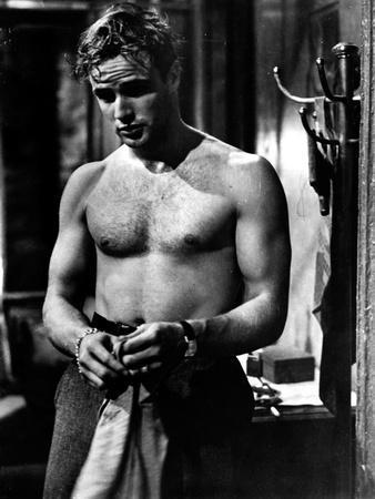 Marlon Brando Movie Scene with Man Topless in Black and White