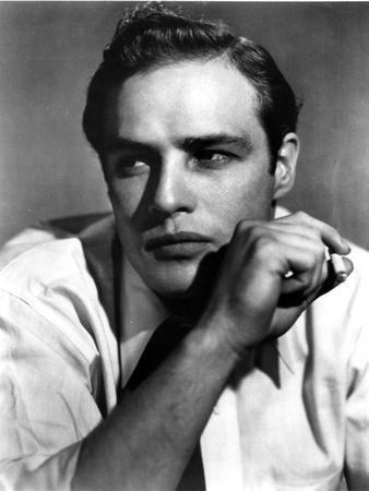 Marlon-B Brando Close Up Portrait Smoking in White Sleeves