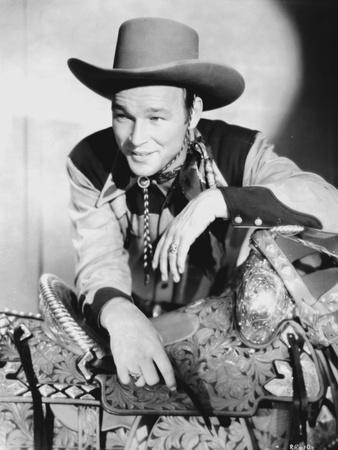 Roy Rogers posed in Cowboy Outfit in Black and White