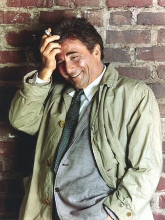 Peter Falk smiling in Formal Outfit with Gray Coat Portrait