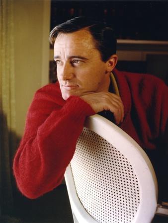 Robert Vaughn Portrait in Red Sweater