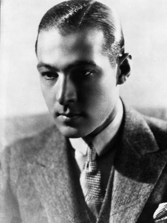 Rudolph Valentino Portrait in Coat in Black and White