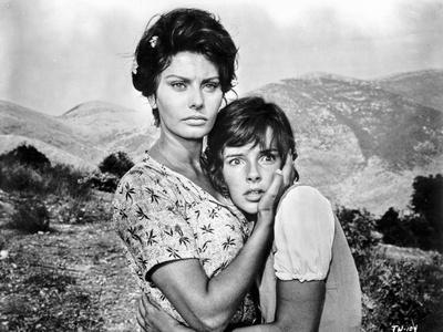 Sophia Loren hugging an Innocent Girl in a Movie Scene