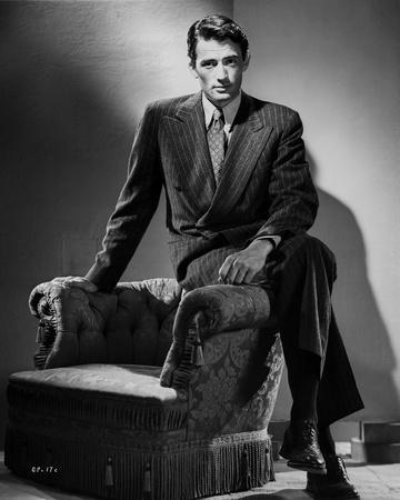 Gregory Peck Siting on Couch in Tuxedo Black and White Portrait