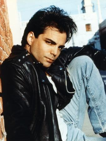 Richard Grieco Posed in Black Leather Jacket
