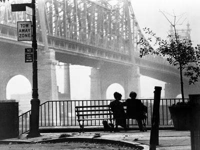 Woody Allen Seated on Bench in Black and White