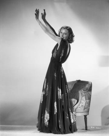Barbara Stanwyck standing Pose in a Dress Classic Portrait