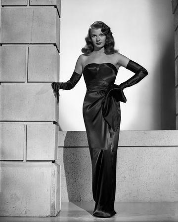 Rita Hayworth Leaning in Black Gown