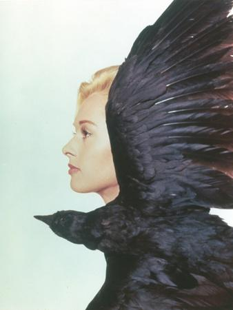 Tippi Hedren Facing Side View with Crow Portrait
