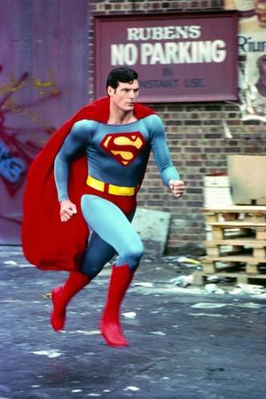 Christopher Reeve Running in Superman Costume