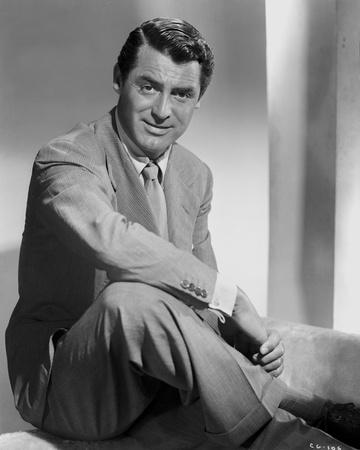 Cary Grant sitting Down In Suit With Arm On Leg  High Qu...