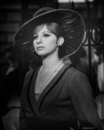 Barbra Streisand Portrait With Hat and Pearl Necklace