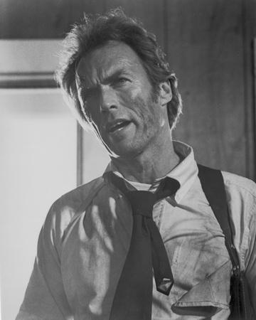 Clint Eastwood Talking in White Long Sleeve with Necktie Portrait