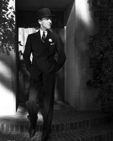 Fred Astaire on Stairs in Black Suit and Tie