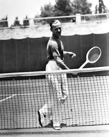 Fred Astaire Playing Tennis in Black and White Portrait