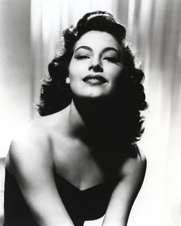 Black and White Portrait of Ava Gardner in Black Dress