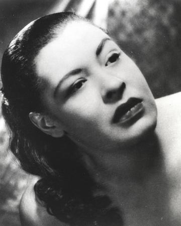 Billie Holiday with Dark lipsticks Close Up Portrait