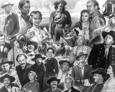Collage of characters in How the West Was Won.
