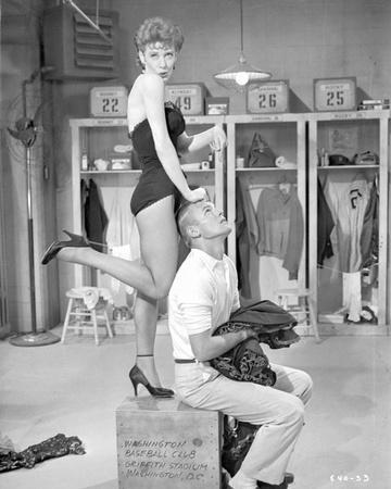 Damn Yankees Cast Gwen Verdon on Top of a Box with Tub Hunter