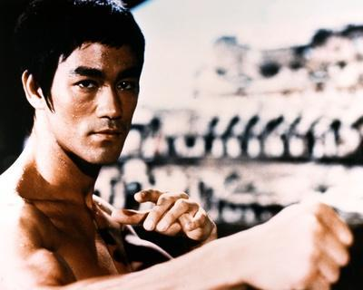 Bruce Lee Fighting Posed in Topless with Closed Knuckles- Photograph Print