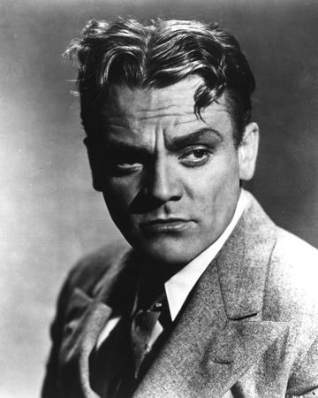 James Cagney Portrait in Grey Linen Suit and Black Silk Necktie