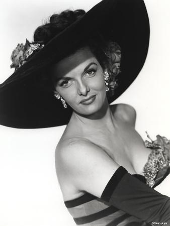 Jane Russell Posed in Stripe Strapless One Piece Swimsuit and Black Broad Straw Hat