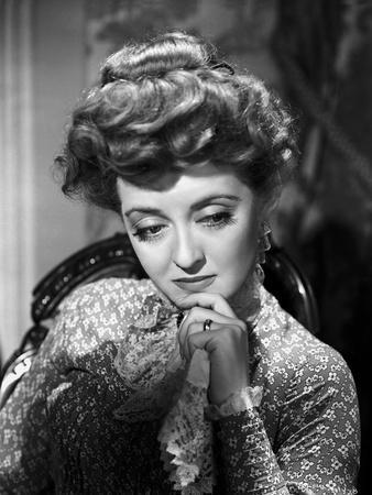 Bette Davis Portrait Hand on the Chin in Long Sleeve Silk Dress with Top Knot Hair