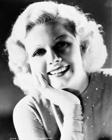 Jean Harlow Portrait in Grey Tight Long Sleeve Linen Dress with Head Leaning on the Right Hand